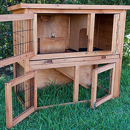 Kaninchenstall, Bunny Business doppelstöckig, ausziehbare Reinigungsschale, 4 Türen - 4