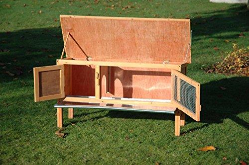 Dobar Kaninchenstall mit Zinkwanne aus Nadelholz, einstöckig - 4
