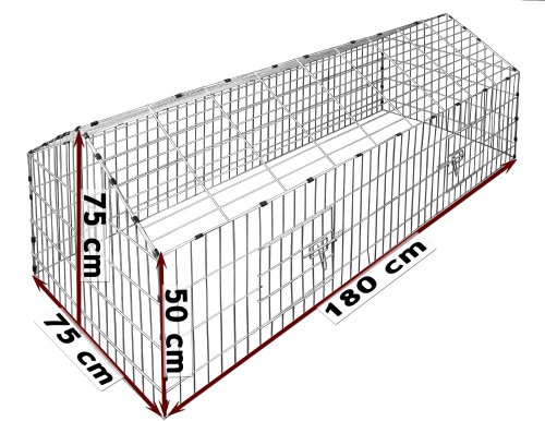 Kaninchenstall, Deuba, einstöckig, Freilaufgehege inkl. Sonnenschutz - 3