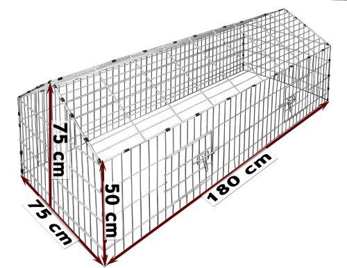 Kaninchenstall, Deuba, XXL, mit Sonnenschutz 180 x 75 cm - 2