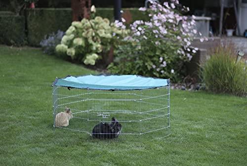 Kaninchen-Freigehege aus 8 Gittern, Kerbl, einstöckig, verzinkt, mit Netz und Tür, Ø 143 cm - 4