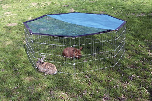 Kaninchen-Freigehege aus 8 Gittern, Kerbl, einstöckig, verzinkt, mit Netz und Tür, Ø 143 cm - 2