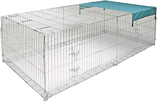 Kaninchen-Freigehege mit Ausbruchsperre, Kerbl, einstöckig, mit Abdeckung, 230 x 115 x 70 cm