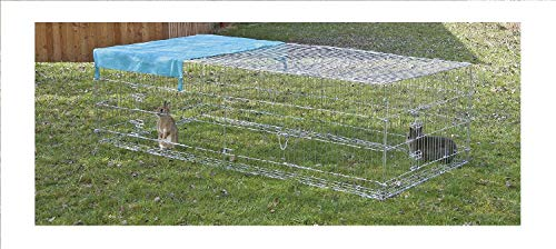 Kaninchen-Freigehege mit Ausbruchsperre, Kerbl, einstöckig, mit Abdeckung, 230 x 115 x 70 cm - 3
