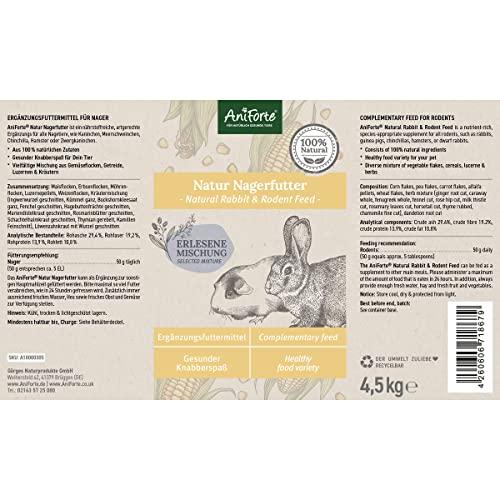 AniForte Natur Nagerfutter 10 Liter für Hamster, Meerschweinchen, Kaninchen – Qualitäts-ID: OLP C 09 - 6
