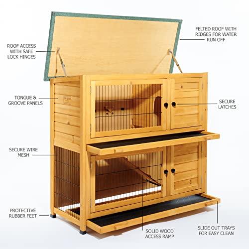 Kleintierstall über 2 Ebenen, geeignet für Kaninchen und Meerschweinchen, mit grüner Abdeckung und erhöhten Füßen, 1,2°m - 2