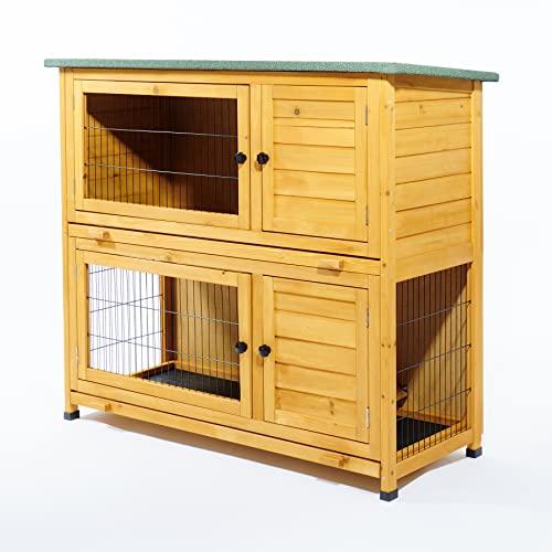 Kleintierstall über 2 Ebenen, geeignet für Kaninchen und Meerschweinchen, mit grüner Abdeckung und erhöhten Füßen, 1,2°m - 3
