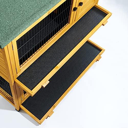 Kleintierstall über 2 Ebenen, geeignet für Kaninchen und Meerschweinchen, mit grüner Abdeckung und erhöhten Füßen, 1,2°m - 5