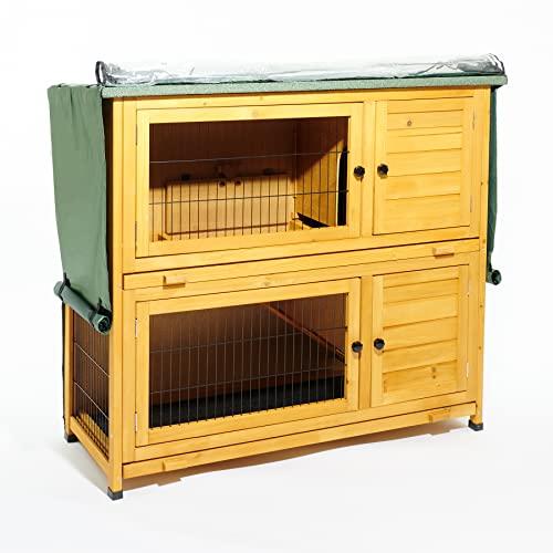 Kleintierstall über 2 Ebenen, geeignet für Kaninchen und Meerschweinchen, mit grüner Abdeckung und erhöhten Füßen, 1,2°m - 9