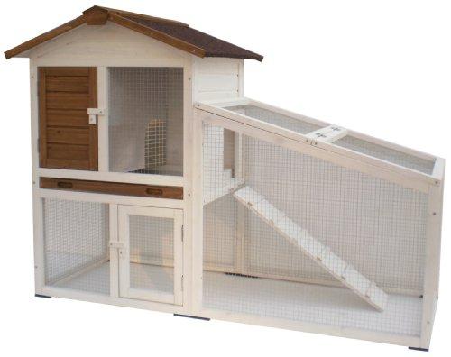 Kaninchenstall, AK for Pets, doppelstöckig, weiß, 140 x 65 x 100 cm