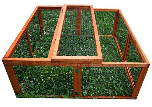 Kaninchen Freilauf Deluxe, Elmato, mit Gitterstäben und Deckel, 120 x 120 x 48 cm - 2
