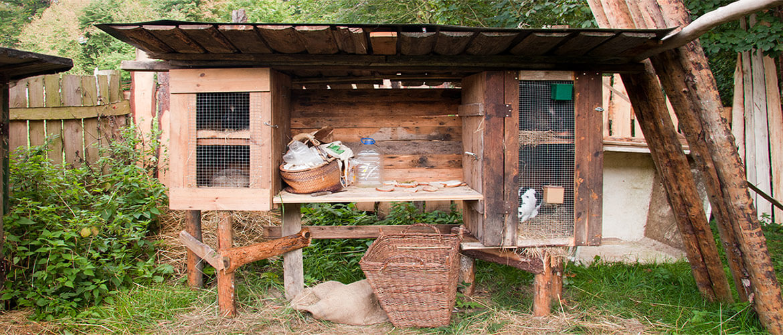 Kaninchenstall im Freien