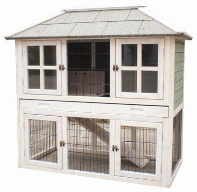 hasenstall 2 etagen wei 125x68x117 cm kaninchenstall. Black Bedroom Furniture Sets. Home Design Ideas