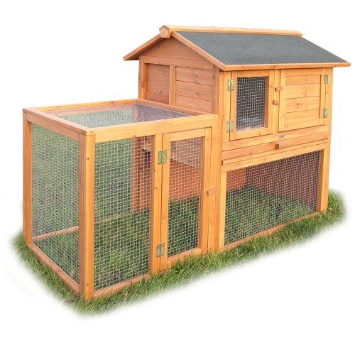 habau 584 kleintiergehege spitzdach isoliert mit freilauf kaninchenstall kaufen. Black Bedroom Furniture Sets. Home Design Ideas