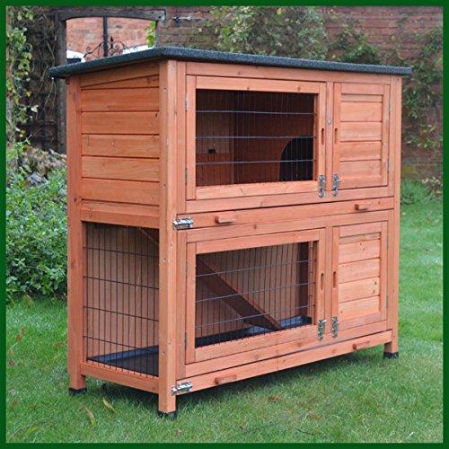 kleintierstall ber 2 ebenen geeignet f r kaninchen und meerschweinchen mit gr ner abdeckung. Black Bedroom Furniture Sets. Home Design Ideas