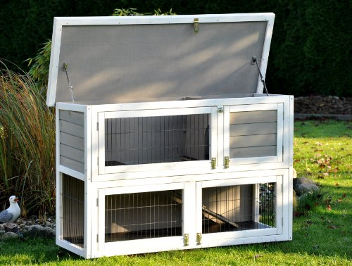 nanook hasenstall kaninchenstall moritz 2 doppelst ckig grau wei xxl 130 x 49 cm 5. Black Bedroom Furniture Sets. Home Design Ideas