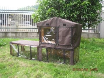 Kaninchenstall, Bunny Business, doppelstöckig, mit Auslauf und Abdeckung, Schutz