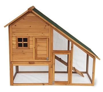 Kaninchenstall, Eugad, doppelstöckig, schräges Dach, Front