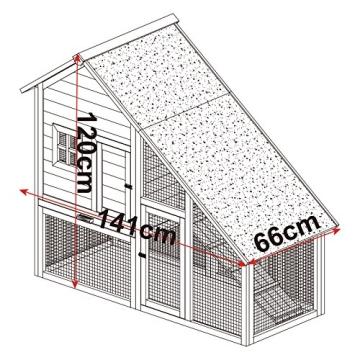 Kaninchenstall, Eugad, doppelstöckig, schräges Dach, Maße