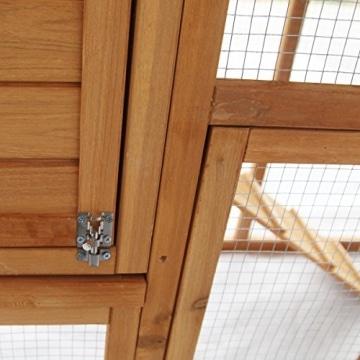 Kaninchenstall, Eugad, doppelstöckig, schräges Dach, Verschluss