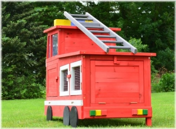 Kaninchenstall Feuerwehrauto, BS, einstöckig, mit Stauraum, Rückseite geschlossen
