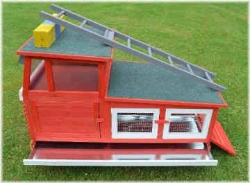 Kaninchenstall Feuerwehrauto, BS, einstöckig, mit Stauraum, Übersicht