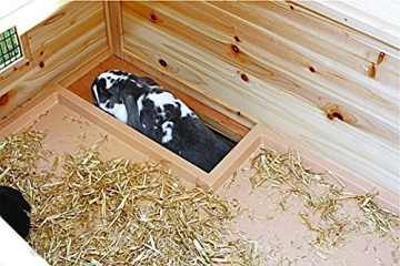 Kaninchenstall Tyrol Alpin, Kerbl, doppelstöckig, wärmeisoliert, Kleintierstall 119 x 100 x 119 cm, Innenansicht Details